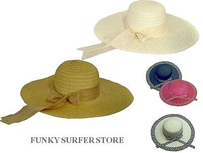 a1140d79 WOMENS SUMMER WIDE BRIM RIBBON STRAW HAT FLOPPY FOLDABLE BEACH HATS CAPS